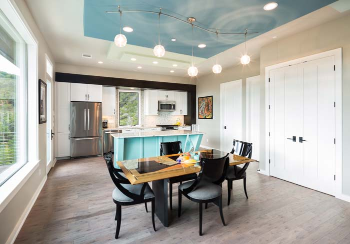 Rob Roy, Dining Room, Kitchen, trapezoid kitchen island, texas hill country, austin texas, contemporary design, architectural design